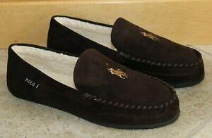 NIB Polo Ralph Lauren Men's Suede Moccasin Slippers Brown Tan 8 10 11 12