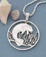 Silver Manatee Pendant, Silver Manatee Jewelry, Sea Life Jewelry, ( # 378S )
