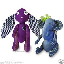"""2 x Sewing-PATTERNS  Amethyst 11"""" Gothic Bunny & Ella Elephant 10"""" Softy, Plush"""