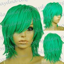 "16 "" Hi_Temp Light Green Hand Spikeable Shaggy Cut  Short  Cosplay DNA Wig 64GGE"
