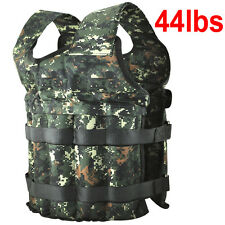 44LBS Adjustable Fitness Weight Weighted Camo Vest Exercise Training Workout