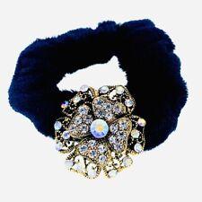 Flower Hair Rope Wrap Rhinestone Crystal Scrunchies Ponytail Holder Gold F65