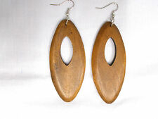 NATURAL ELEMENT LARGE MED DIRTY BLONDE STAINED WOOD DANGLING PEEK A BOO EARRINGS