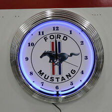 "New Ford Mustang Pony Logo Blue Neon Hanging Wall Clock: 15"" Diameter: 8MUST1"