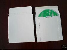 """200 NEW WHITE 5 """" CARDBOARD CD DVD MAILERS W/SEAL JS93"""