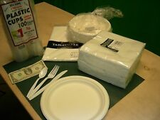Fork Knife Spoon 7oz Cup 9in plates napkins 50ea table cover EZCarry box + gift
