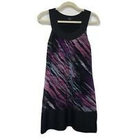 Express Women's Shift Dress 100% Silk Sleeveless Black Purple Abstract Small
