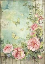 A/4 Rice Paper for Decoupage Scrapbooking  Roses garden with fence