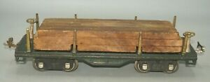 LIONEL PREWAR STANDARD GAUGE #511 GREEN FLAT CAR WITH WOOD LOAD