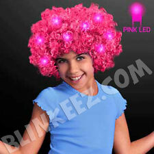 HALLOWEEN Light Up PINK Flashing LED Curly Aftro Wig - Costume Fun!
