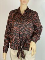 River Island  Animal Print Satin Bow Details Button Up Blouse Top Size 8