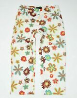 Women's Vintage GIORGIO Stretch Cropped White Floral Cotton Trousers W32 L23