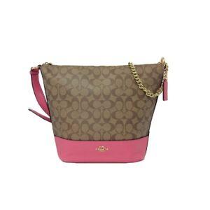 Coach F72852 Paxton Duffle in Signature Canvas Shoulder Handbag Khaki Pink Ruby