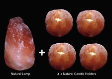4 X HIMALAYAN CRYSTAL ROCK SALT TEA LIGHT CANDLE HOLDER PLUS LAMP 2-3KG