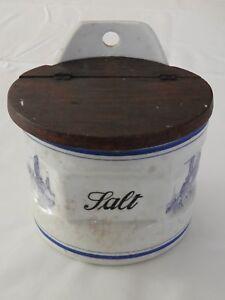 Vintage Salt Wooden Covered Crock/Jar Blue & White Ceramic Wooden Top
