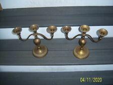 2 Vintage Brass Candelabra 3 Arm Candle Holders
