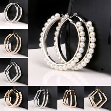 Fashion Round Loop Hoop Big Circle Pearl Earrings for Women Jewelry Wedding Gift