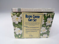 Recipe Center Gift Set Floral Box Cover 50 Recipe Cards 6 Dividers Shop List NEW