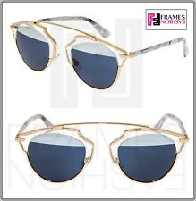 1be4fabbb2 Christian Dior so Real 1tl 90 Sunglasses Gold White Marble Blue Mirror Lens