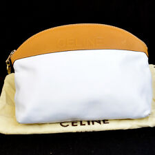 Auth CELINE Logos Clutch Hand Bag Pouch Leather White Made In Italy 06Q273