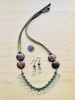 Green Phantom Crystals Drop Metal Button Necklace 118 + Earring - Canada Seller