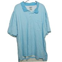 3XL Foundry Big & Tall Blue Check Mens Cotton Short Sleeve Polo Shirt Size 3XL