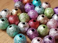 100 Mixed Acrylic METALLIC Sparkly Glitter BEADS 4 - 6 or 8mm-Jewellery Making