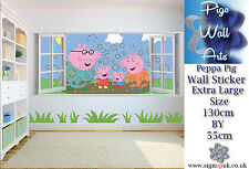 Peppa Pig wall sticker 3D Effect Window Children's Bedroom Extra Large decal.