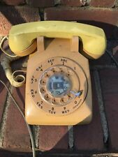 Vintage AT&T Rotary Phone Yellow Orange As Is