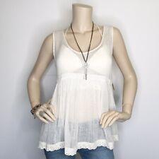 New Denim & Supply Medium Ivory Gauze Lace Tank Top Sleeveless Shirt NWT $98
