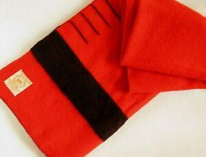 Vtg Hudson's Bay 4 Point Blanket 100% Wool Scarlet Red Eng Seal of Quality 70x88