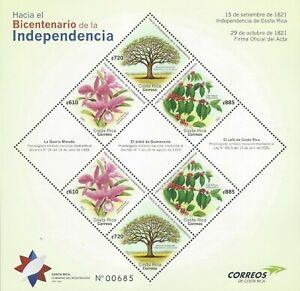 COSTA RICA BICENTENNIAL INDEPENDENCE,NATIONAL SYMBOLS,COFFEE,TREE,FLOWER,MNH2021
