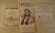 "1938 Lot Brochure/Flyers~""PADUA HILLS THEATRE""~Mexican Players/Claremont CA~MAP~"