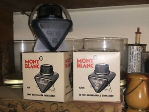 RARE 1970's 2 Mont Blanc Unbreakable Ink Bottle With Black Ink - New Old Stock