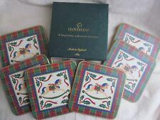 Cloverleaf Boxed Christmas Rocking Horse Cork Backed Coasters Set Good Condition