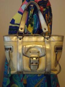Coach Legacy Gold Leather Straw Bag MO5K-113 6 Pockets