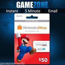 Nintendo e-Shop Gift Card Code - $50 USD USA Nintendo eShop Key 3DS/DS/Wii U