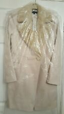 BNWT FCUK WOOL CASHMERE BLEND COAT SIZE 12, FAUX FUR COLLAR, OFF WHITE