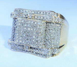 Mens Chunky 9ct Gold 1.08ct Diamond Square Cluster Statement Ring, Size V