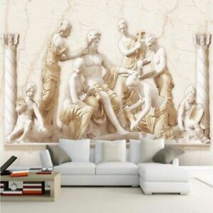 Statue European Style Vintage Wall Cloth 3D Embossed Roman Wallpaper Living Room