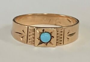 Estate Jewelry Turquoise Baby Ring 10K Rose Gold Band Size 0.5