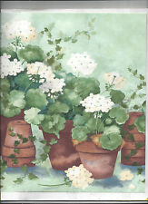 WALLPAPER BORDER WHITE POTTED FLOWER FLORAL GERANIUM IVY CLAY POTS NEW ARRIVAL