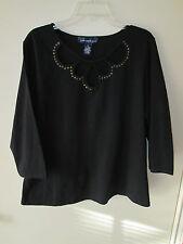 Susan Graver Black Pullover Top, Size XL