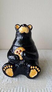 Big Sky Carvers BearFoots Tabletop Ceramic Black Bear Cookie Jar by Jeff Fleming
