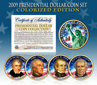 2009 Presidential $1 Dollar COLORIZED President 4-Coin Complete Set w/Capsules