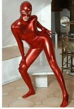 New Metallic Red Lycra Zentai spandex Unisex Catsuit Open Eyes Nose Mouth