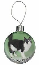 Black and White Cat 'Love You Mum' Christmas Tree Bauble Decoration, AC-104lymCB