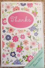 PRETTY FLOWER THANK YOU BLANK CARDS - BLANK INSIDE PACK OF EIGHT 8 WITH ENVS