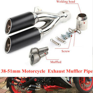 38-51mm Motorcycle Double Outlet Exhaust Muffler Pipe With  Install Kit