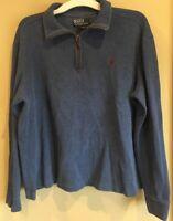Polo Ralph Lauren Mens Sweater Quarter Zip Blue Pullover Large